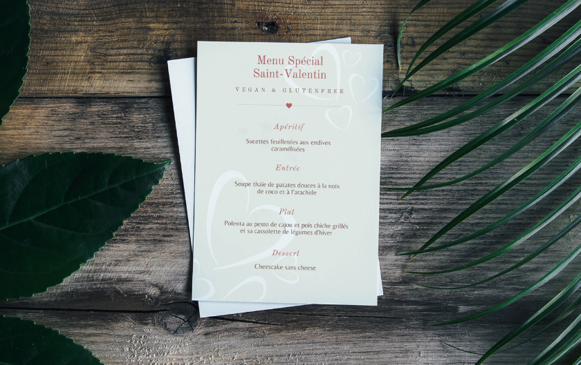 Menu de St Valentin vegan et sans gluten
