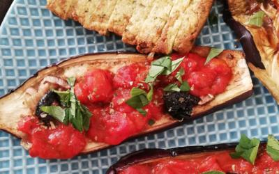 """""""Pizza"""" d'aubergine aux saveurs argentines"""